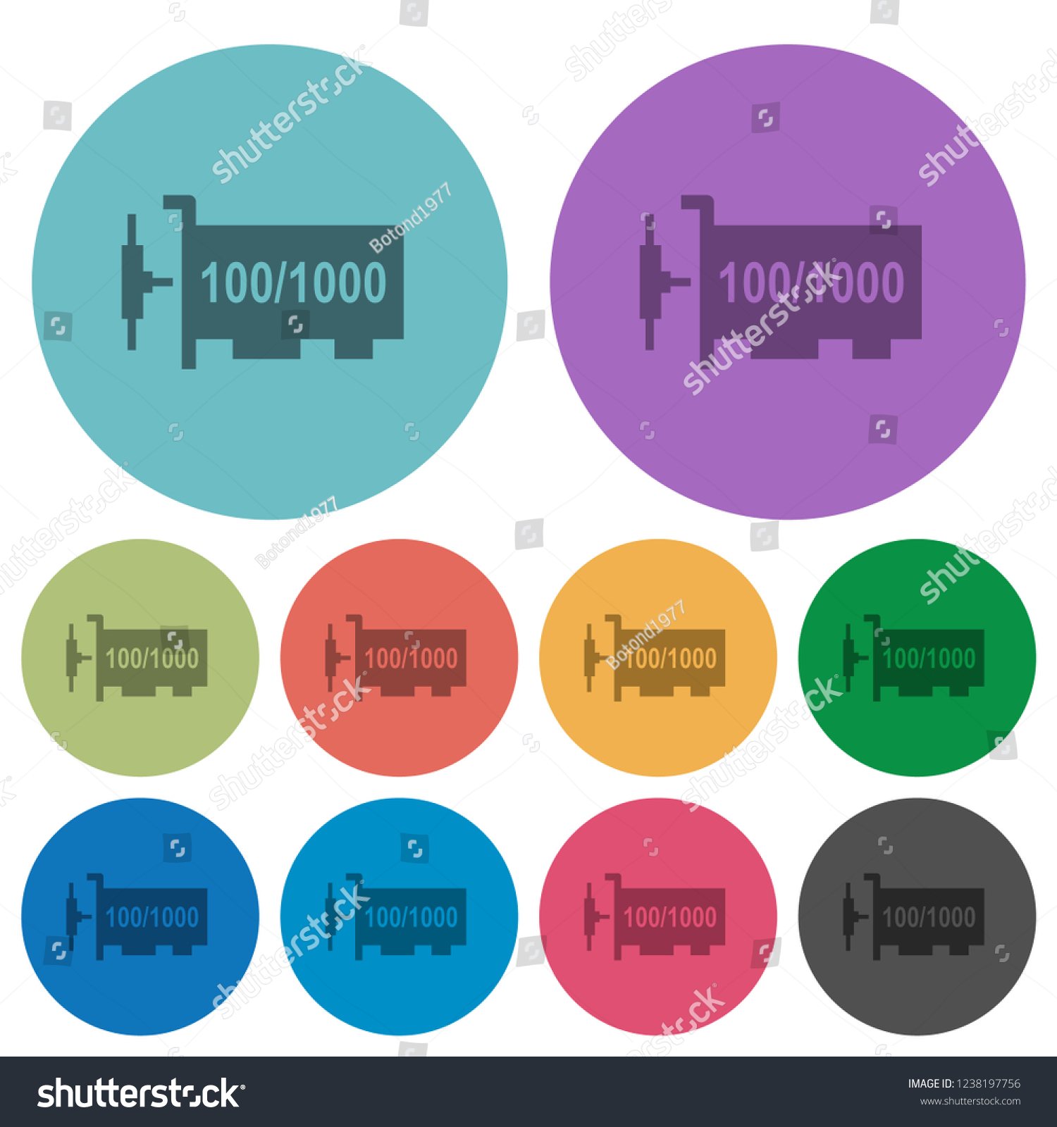 Gigabit Ethernet Network Controller Darker Flat Stock Vector Icons On Color Round Background