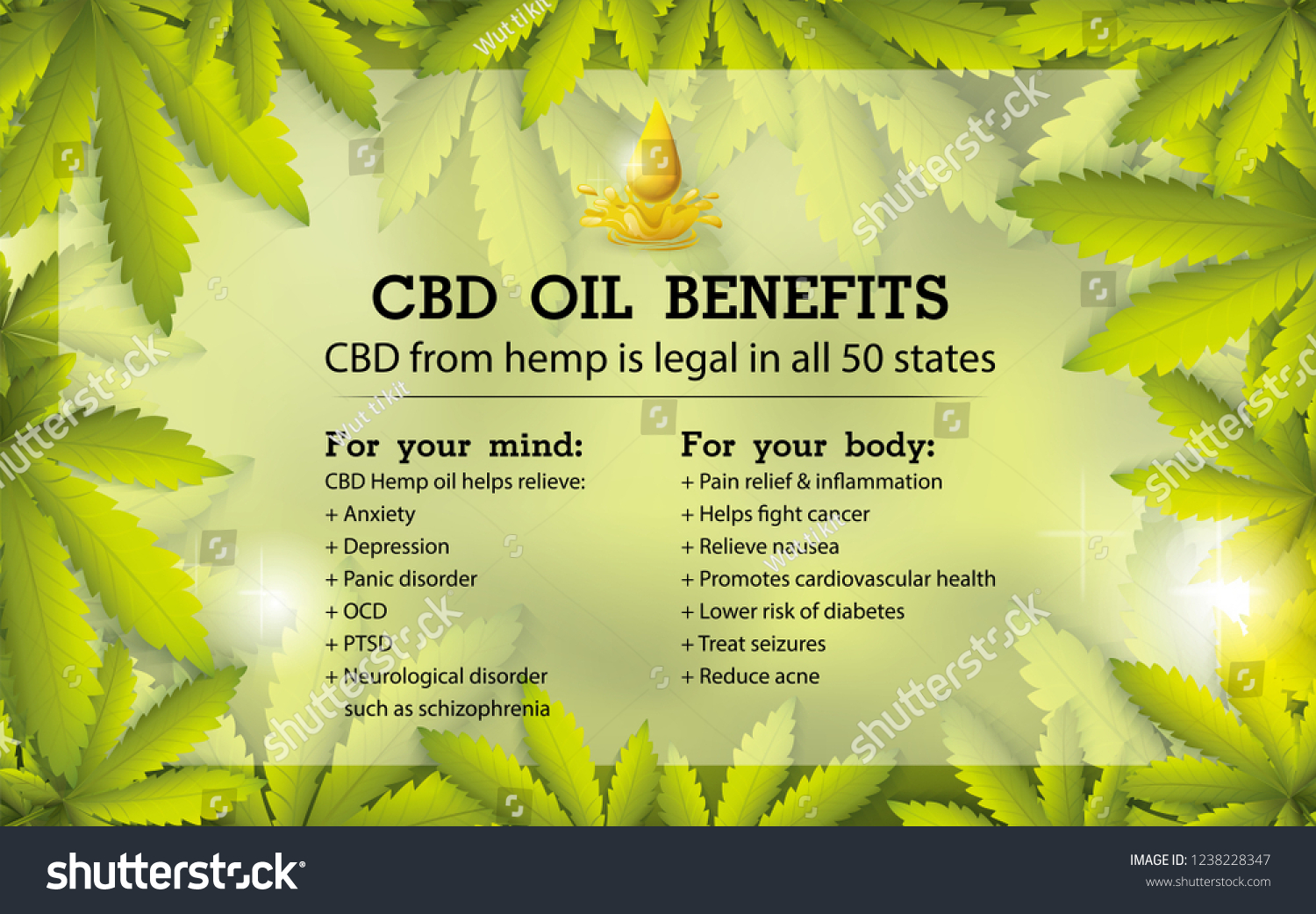 Cbd Oil Benefitsmedical Uses Cbd Oil Stock Vector Royalty Free 1238228347
