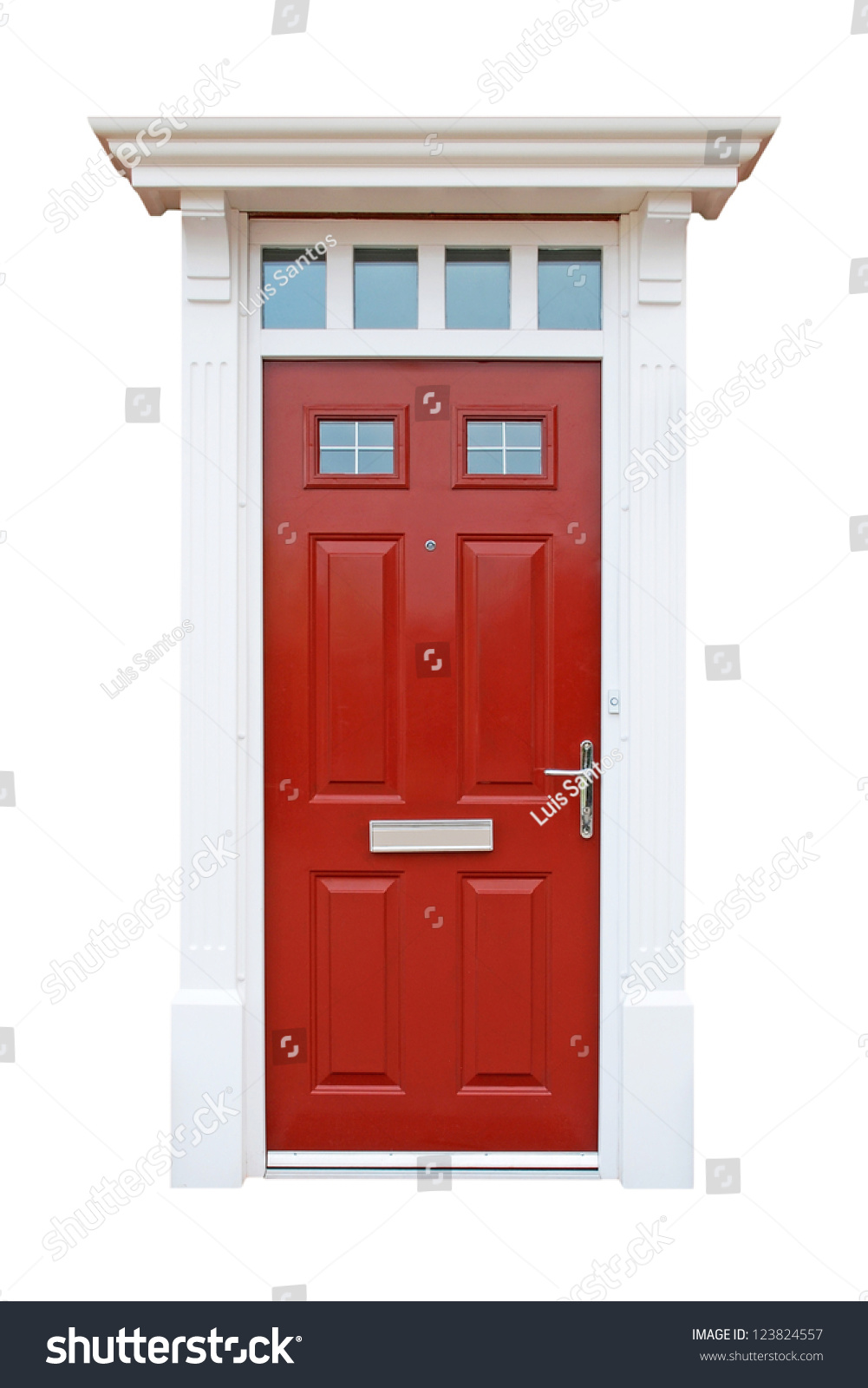 gorgeous red british house door (isolated on white background)  sc 1 st  Shutterstock & Gorgeous Red British House Door Isolated Stock Photo (100% Legal ...