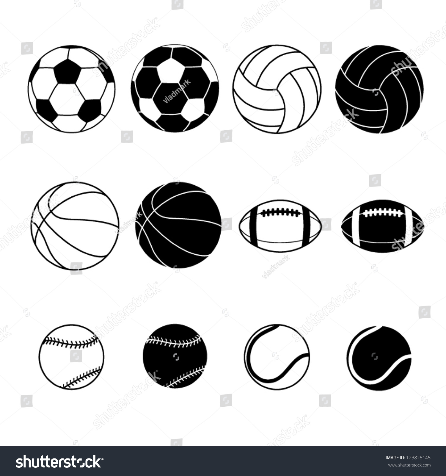 vector sports balls silhouettes silhouette illustration collection sport shutterstock vectors illustrations