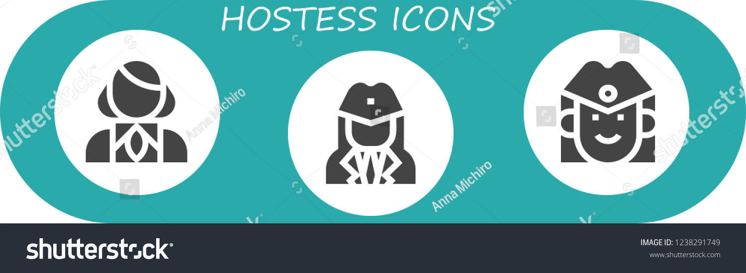 Vector Icons Pack 3 Filled Hostess Stock Vector (Royalty Free