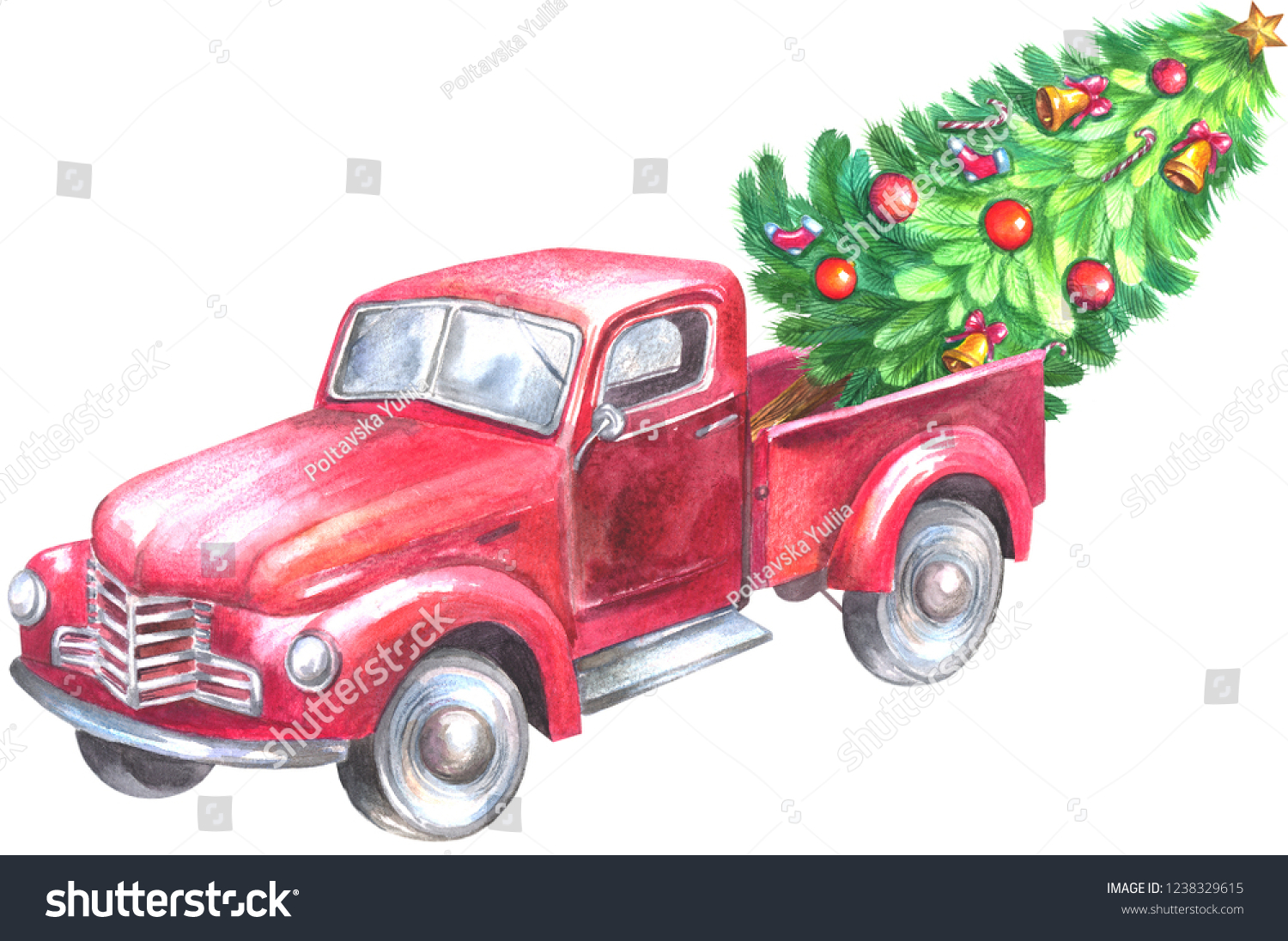 stock photo red truck with christmas tree watercolor painting isolated on white background 1238329615