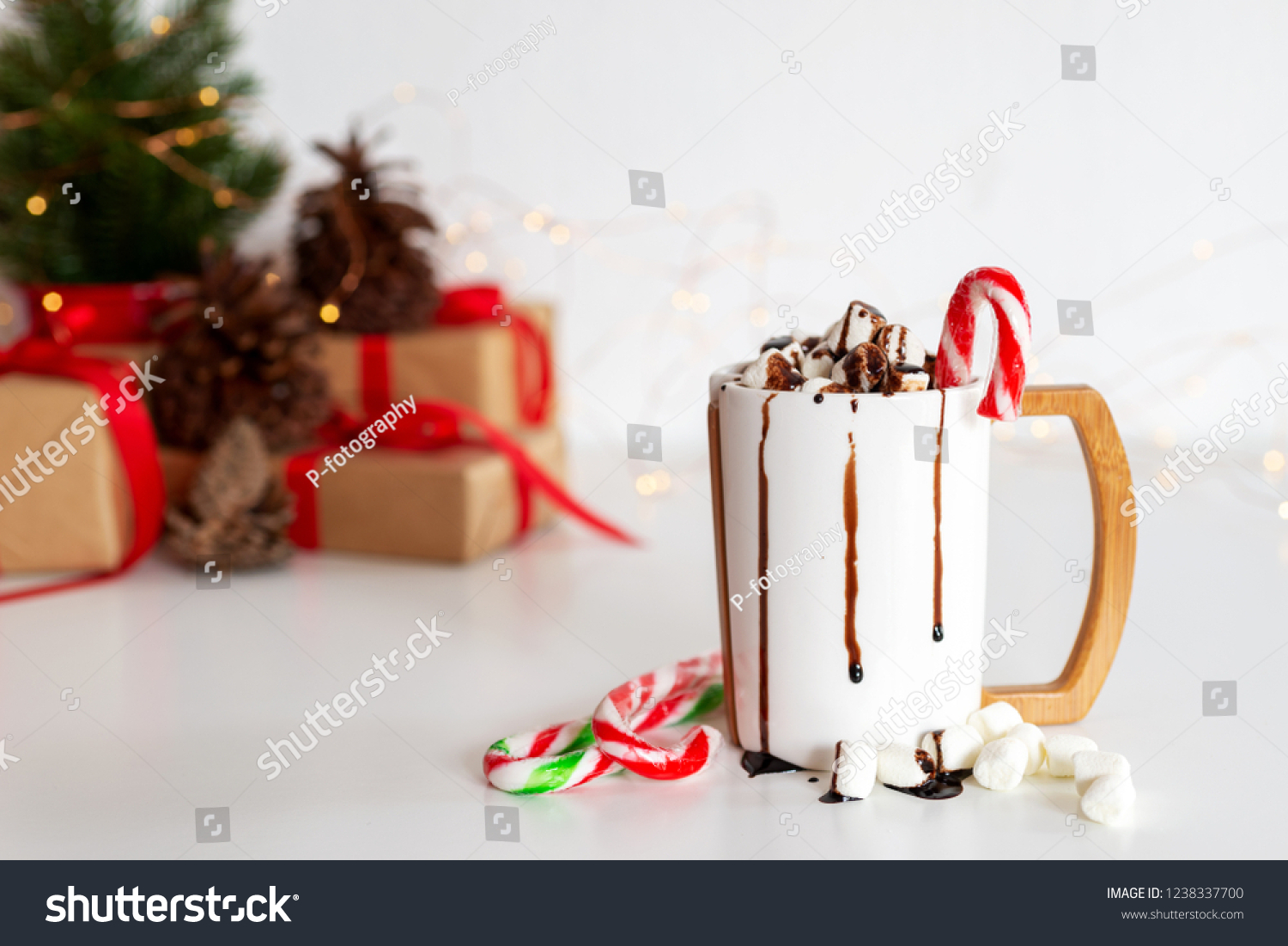 Cup Hot Cocoa Chocolate Christmas Present Stock Photo (Edit Now ...