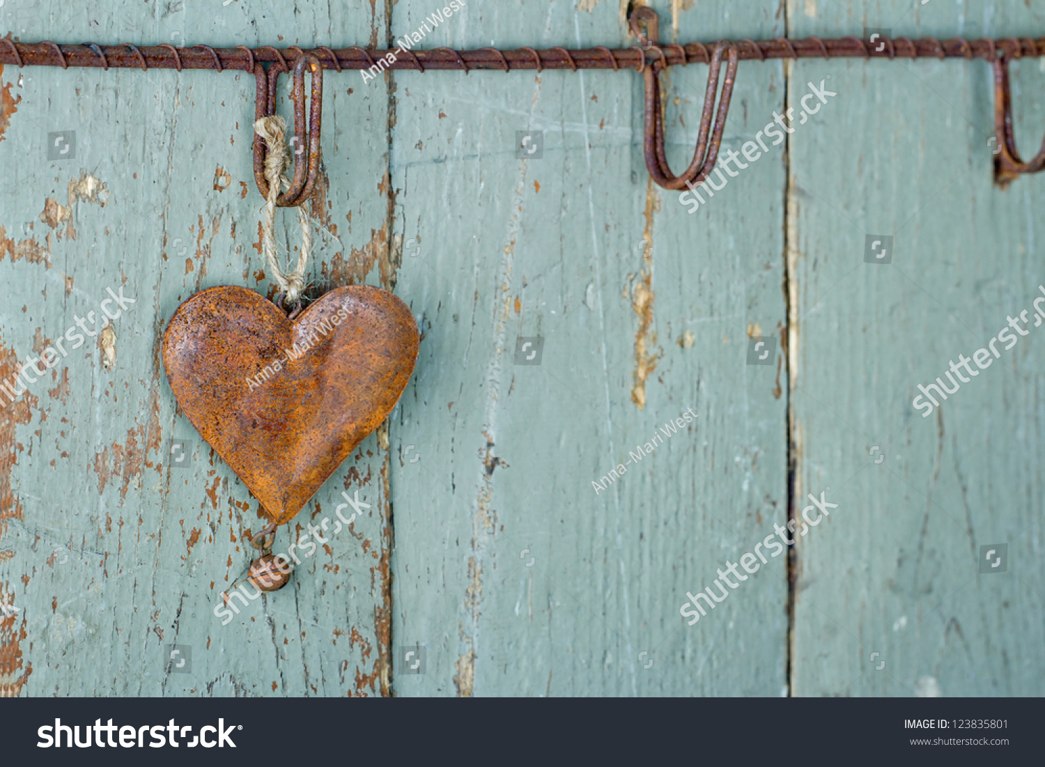 Rusty Old Heart On Wooden Rustic Stock Photo 123835801