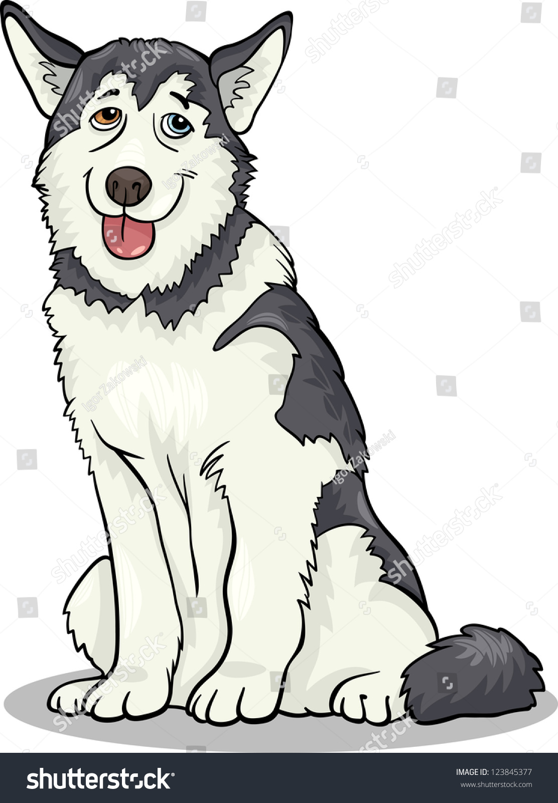 cartoon illustration funny siberian husky alaskan stock vector