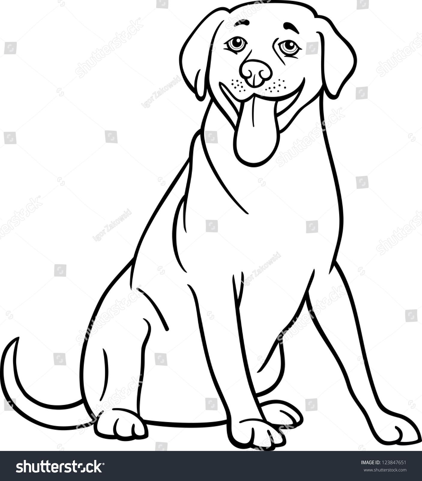 Black White Cartoon Illustration Funny Labrador Stock ...