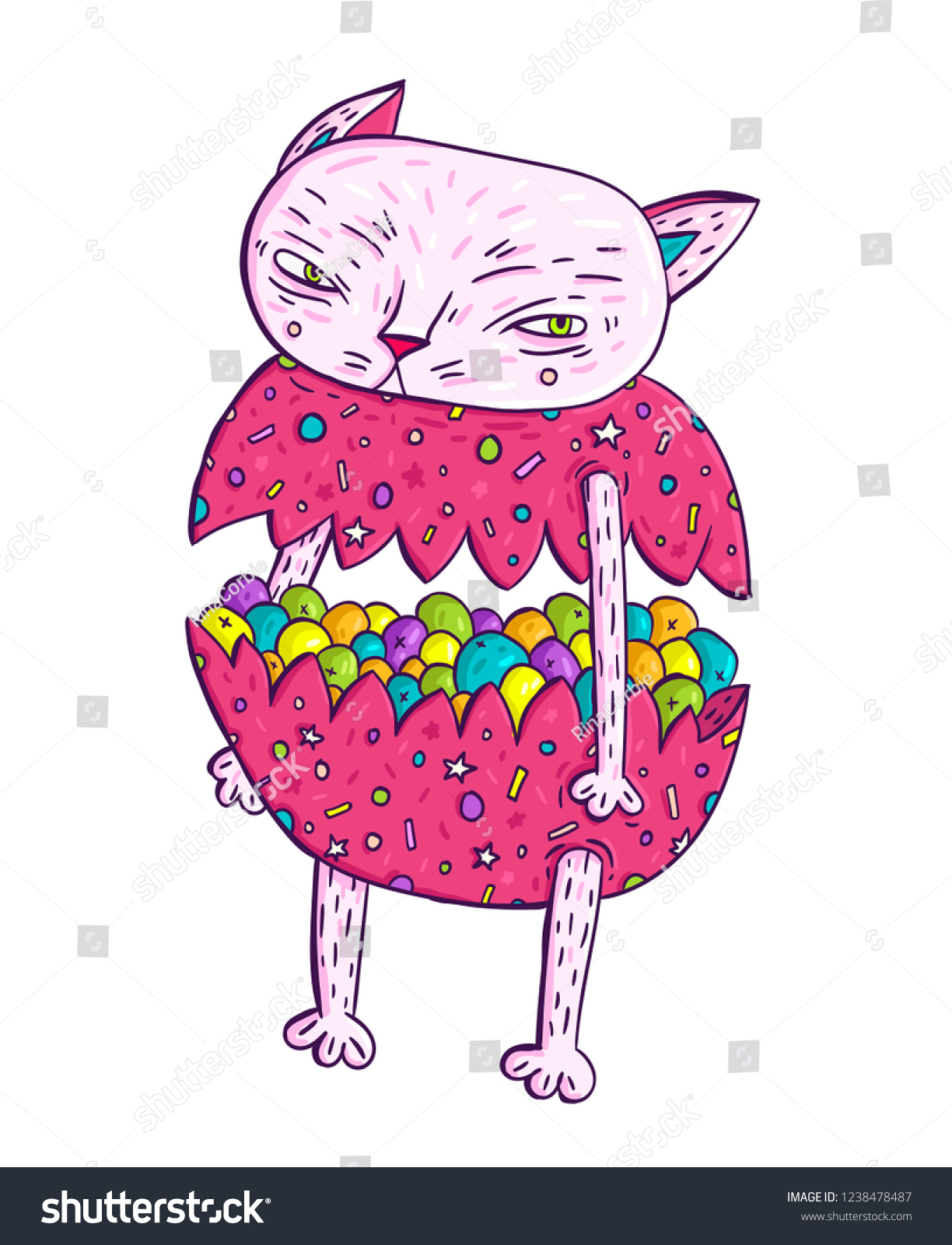 Cute Meditative Candy Cat Hand Draw Stock Vector Royalty Free
