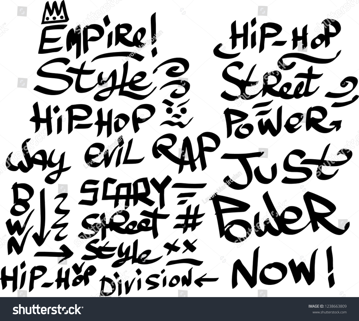Many graffiti tags on a white background vector art