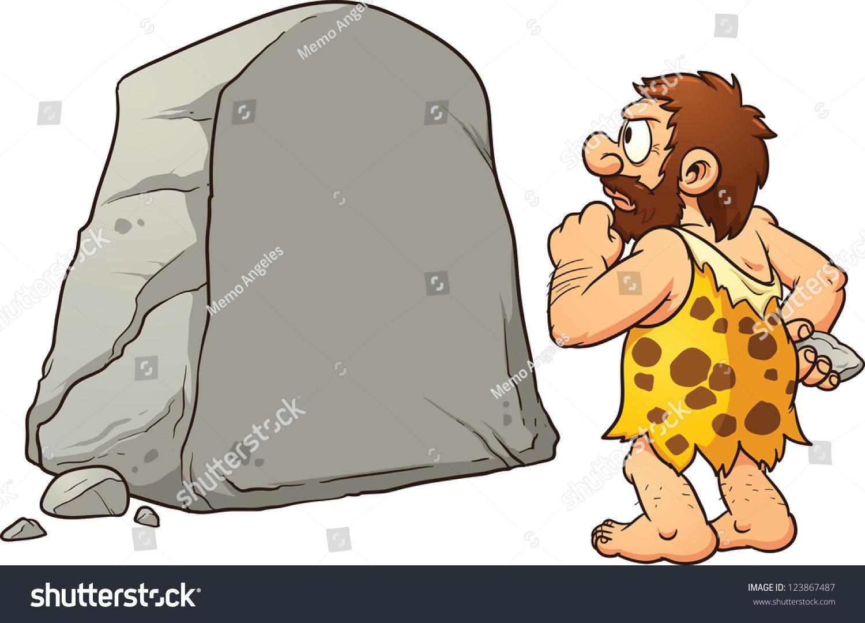 Caveman Rock Art : Caveman looking at a large rock and thinking vector clip