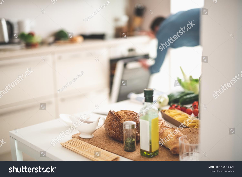 White Kitchen Desk Bread Olive Oil Stock Photo (Edit Now) 49