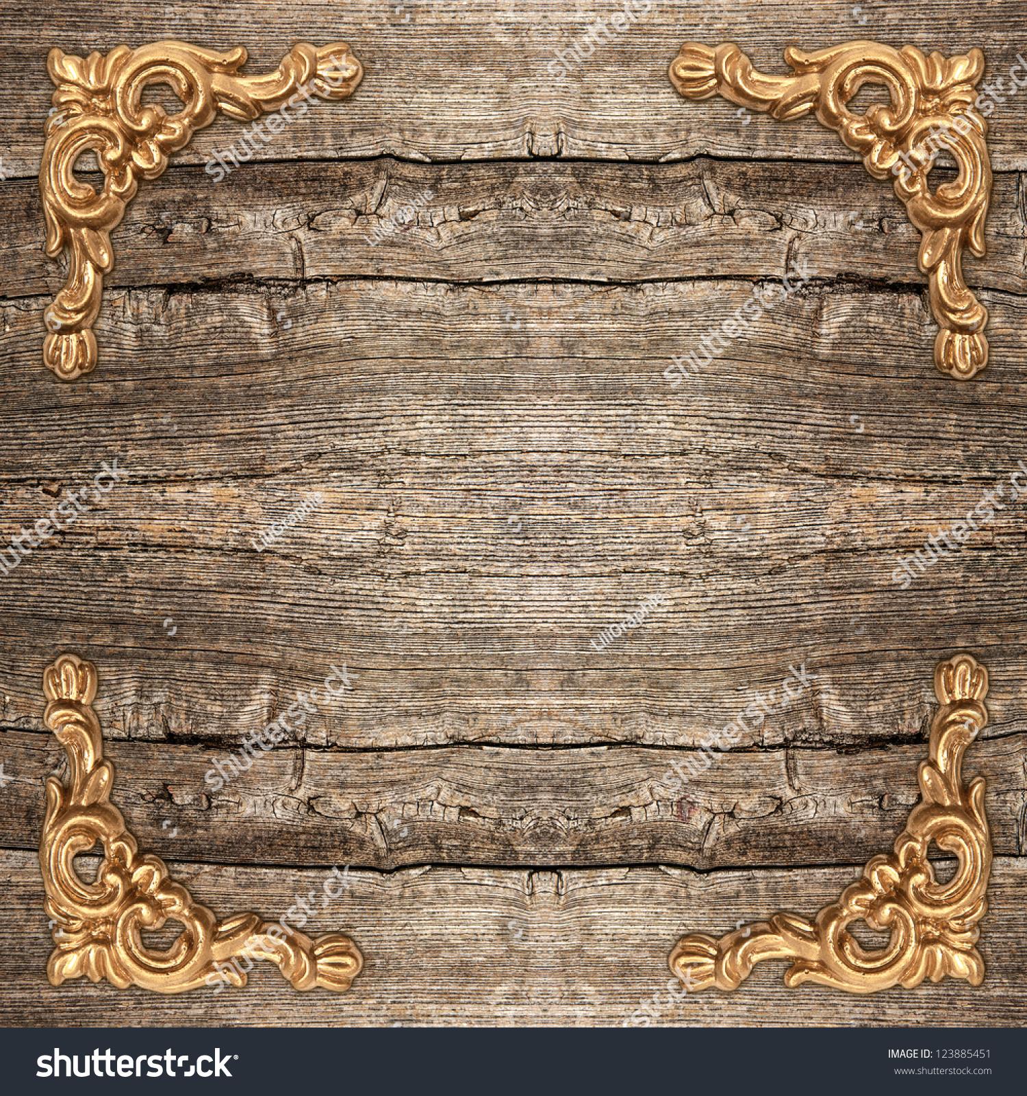 Rustic Wooden Background Golden Corner Vintage Stock Photo