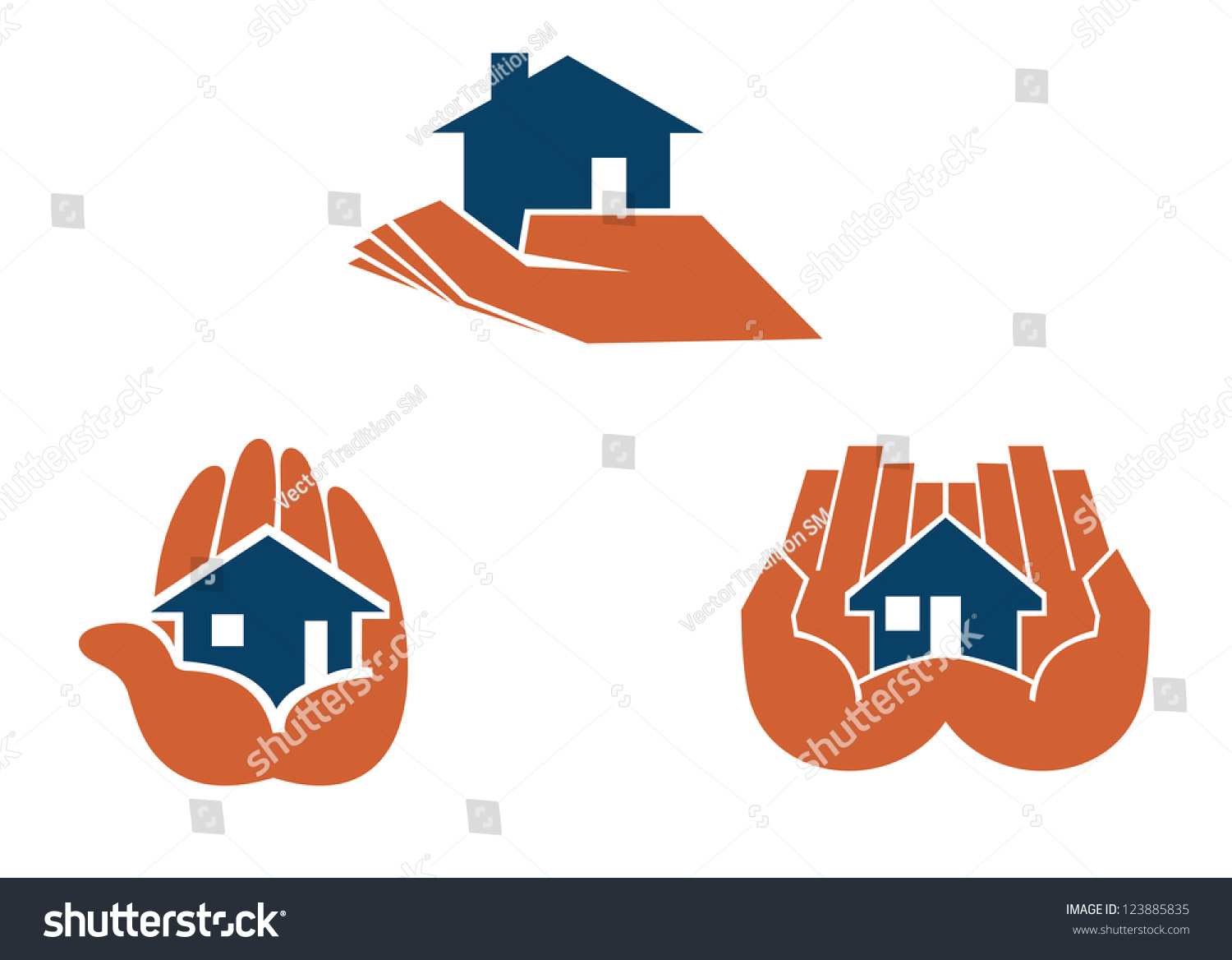 House hands symbols pictograms real estate stock illustration house in hands symbols and pictograms for real estate business design such as idea of biocorpaavc Image collections