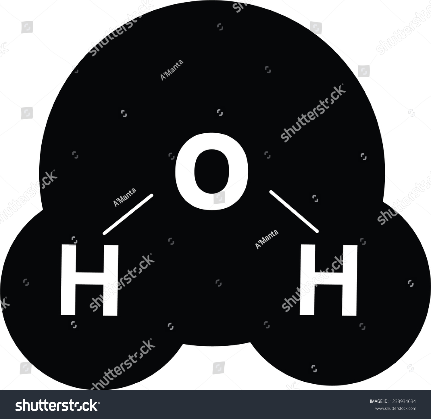 Water Molecule Diagram Black And White.Vector Illustration Water Molecule Icon Black Stock Vector