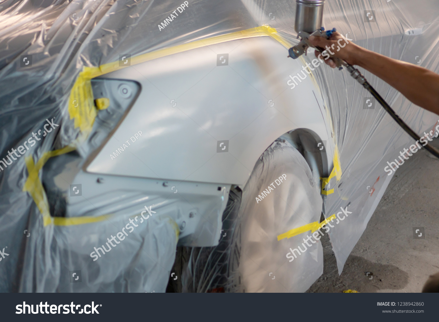 Repairing Car Body By Puttying Close Stock Photo (Edit Now