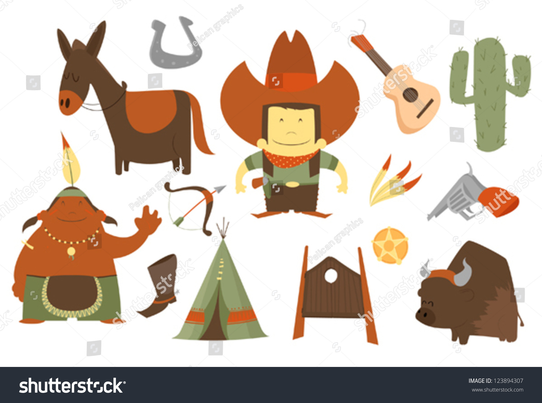 Cowboy Clip Art Pack Stock Vector 123894307 - Shutterstock