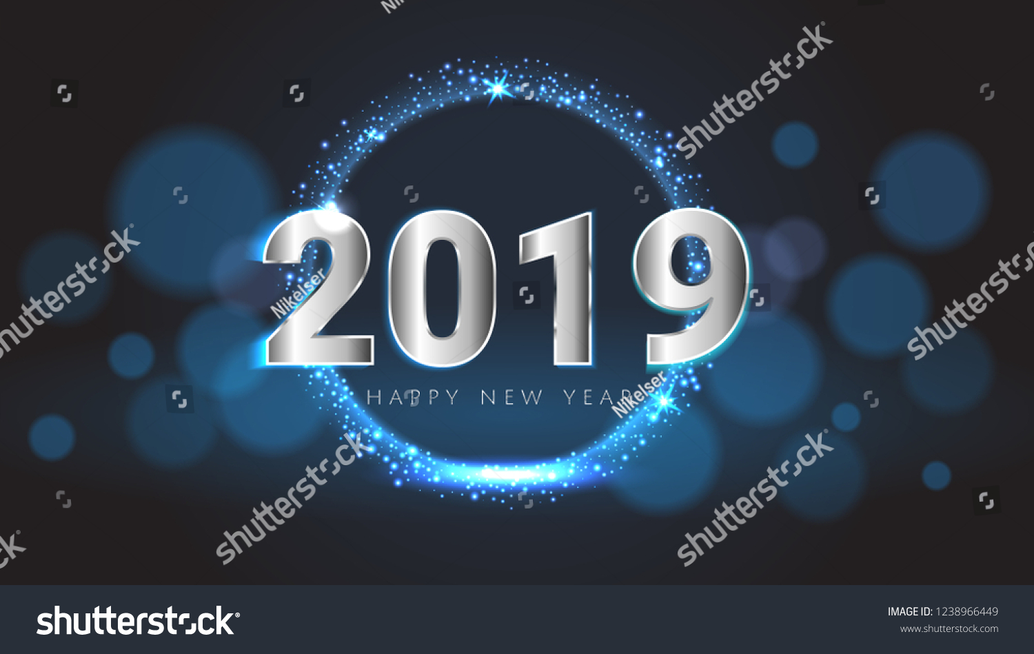 blue 2019 happy new year card with premium bokeh magic texture background festive rich premium