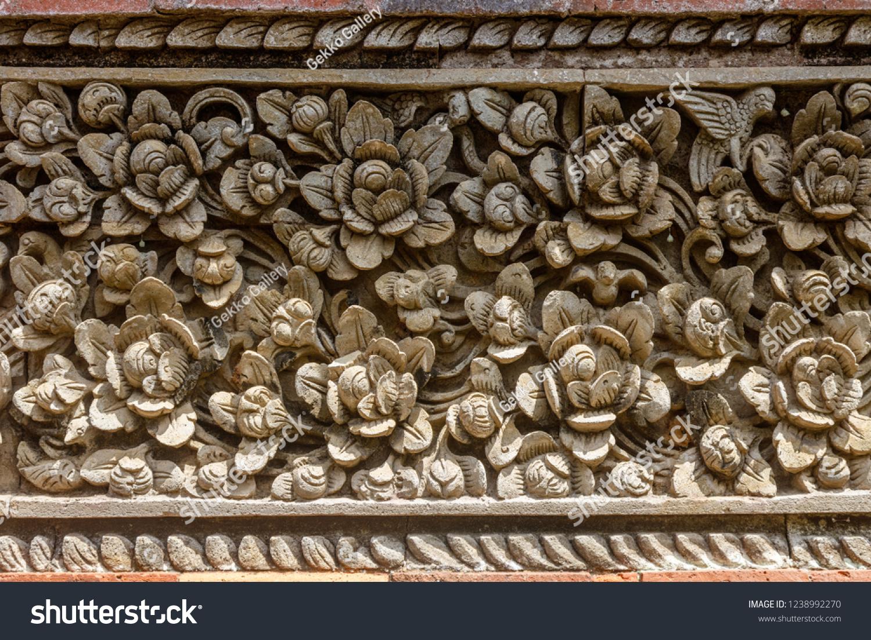 stock photo stone carving with floral pattern at balinese hindu temple pura puseh desa batuan batuan village