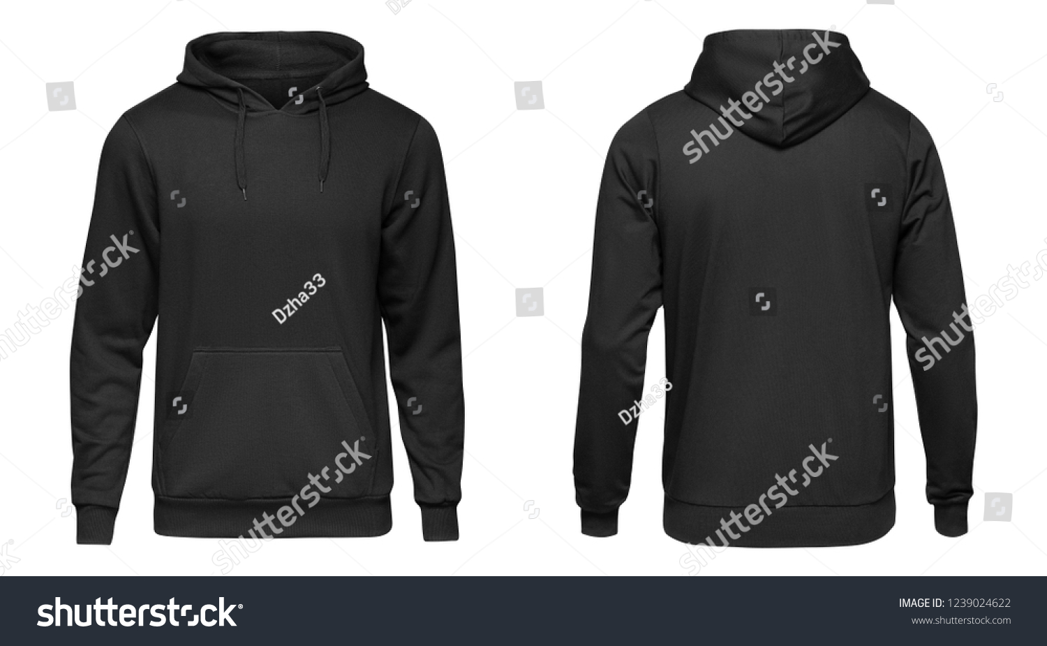 Blank black male hoodie sweatshirt long sleeve with clipping path, mens hoody with hood for your design mockup for print, isolated on white background. Template sport winter clothes. #1239024622