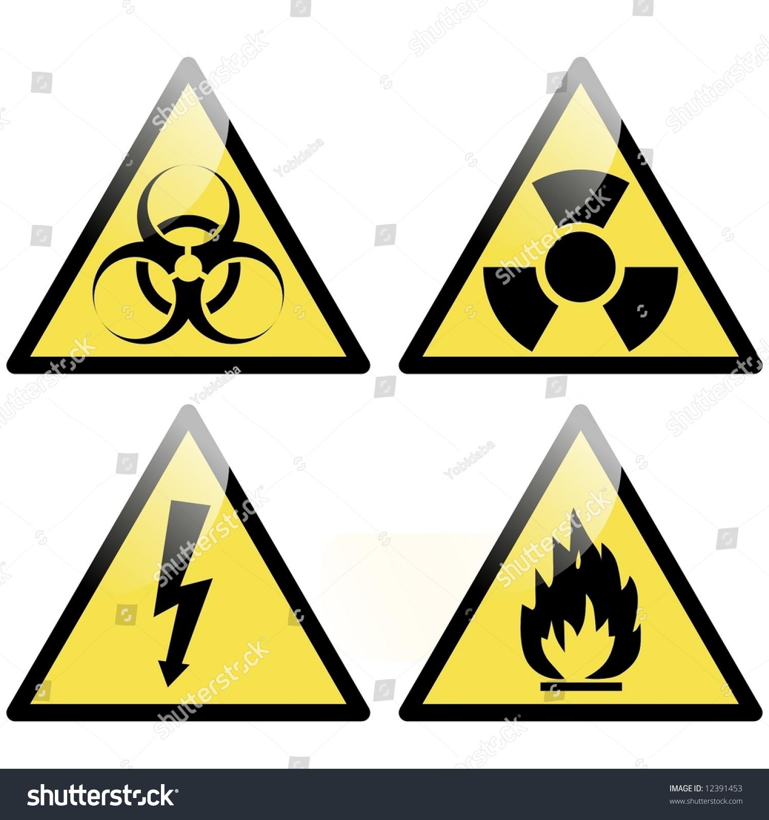 Biohazard Radioactive Flammable Electrical Hazard Symbol ...