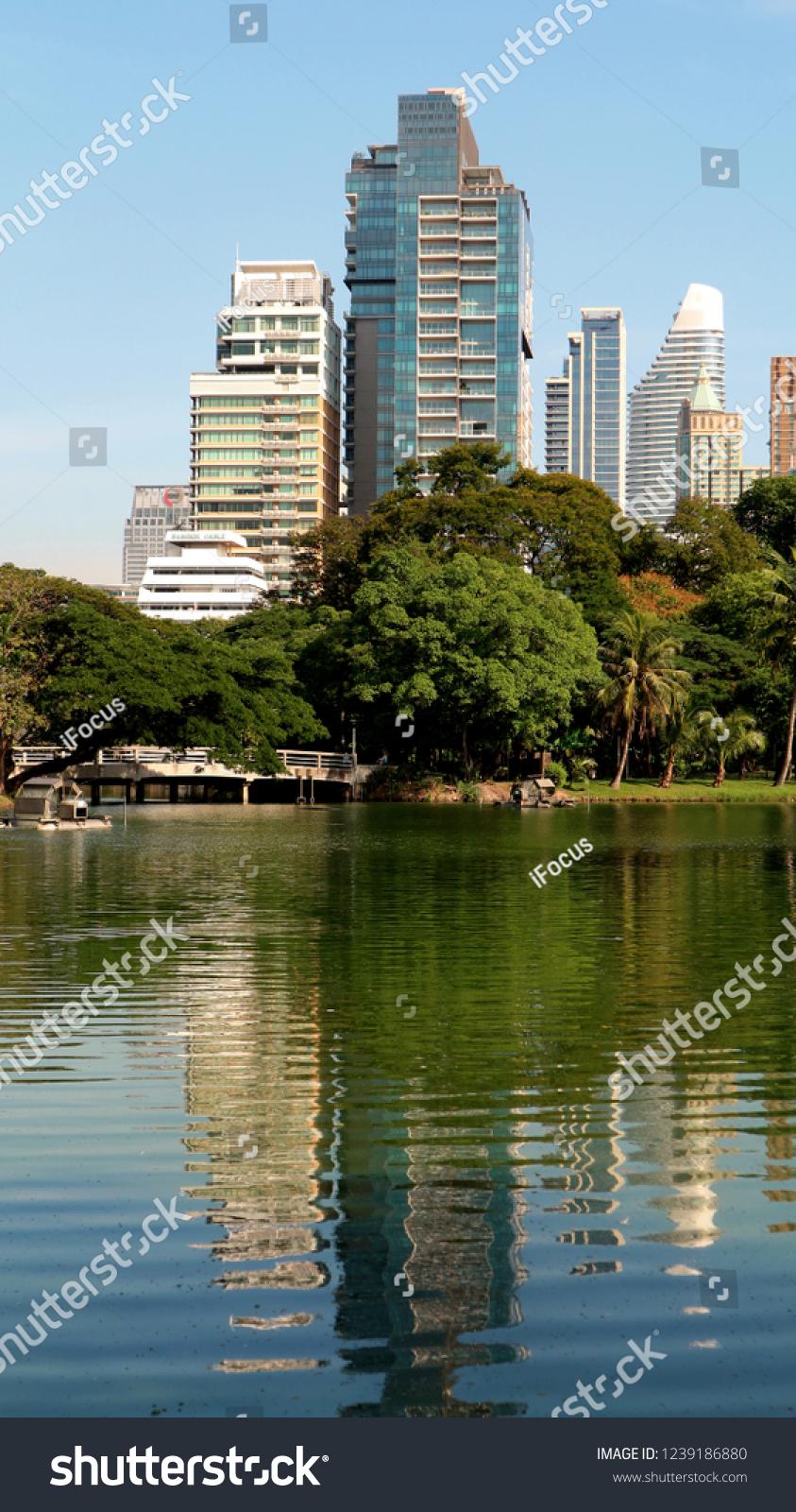 BANGKOK THAILAND - NOVEMBER 24, 2018: Modern buildings reflect in a small lake in Lumpini Park on November 24, 2018 in Bangkok, Thailand.
