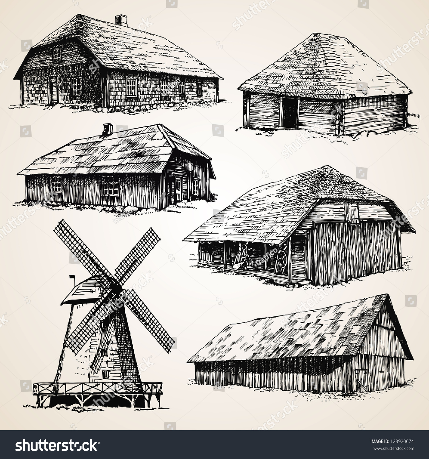Drawings Old Wooden Buildings Stock Vector 123920674