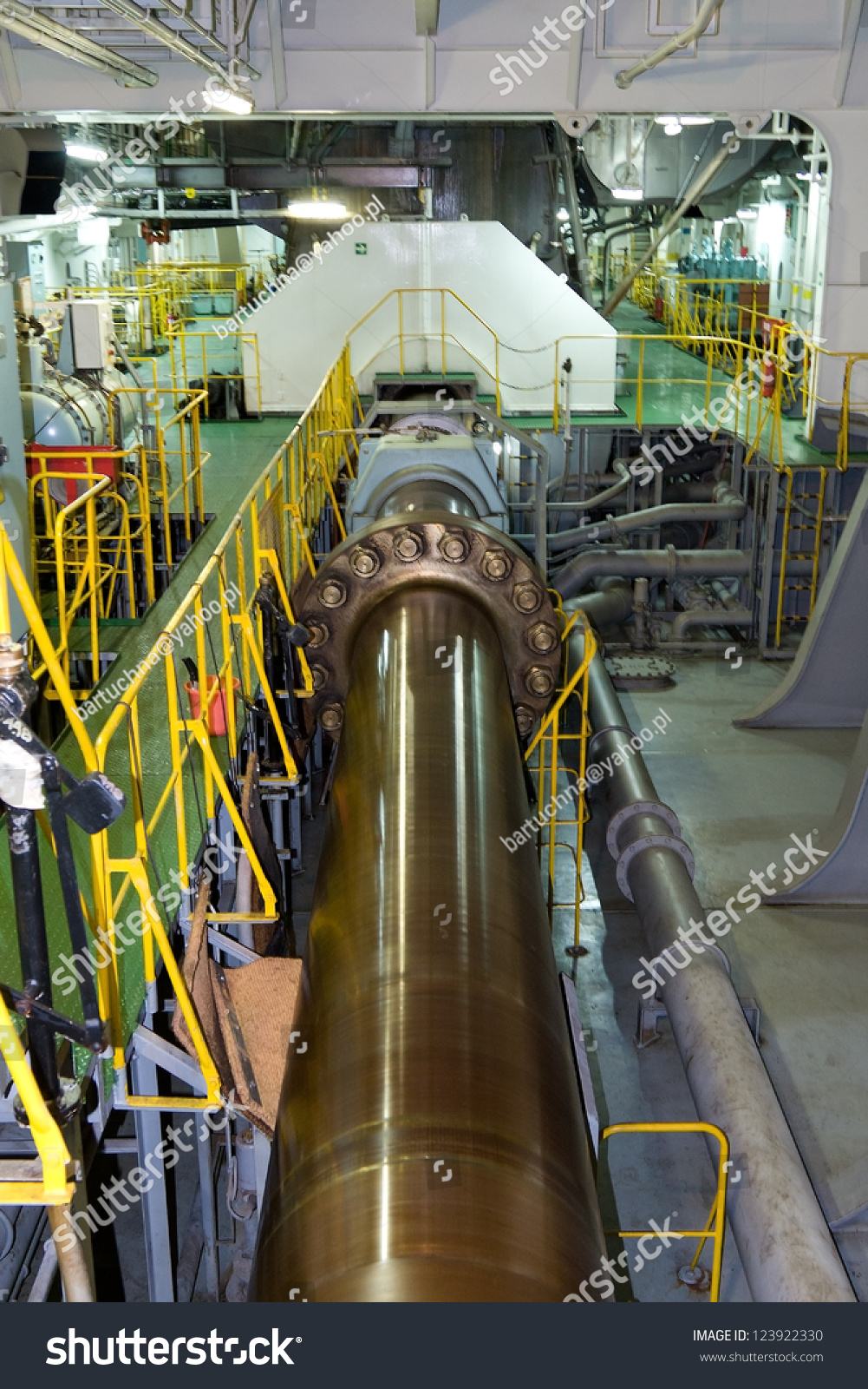 Big Ships Engine Rooms: Propeller Shaft Large Container Ship Stock Photo 123922330