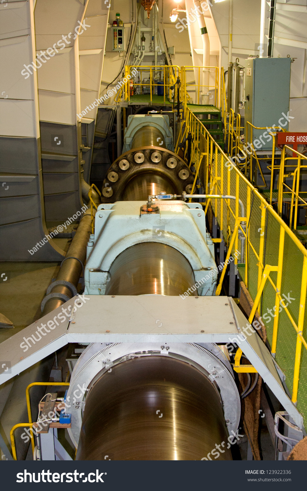 Big Ships Engine Rooms: Propeller Shaft Large Container Ship Stock Photo 123922336