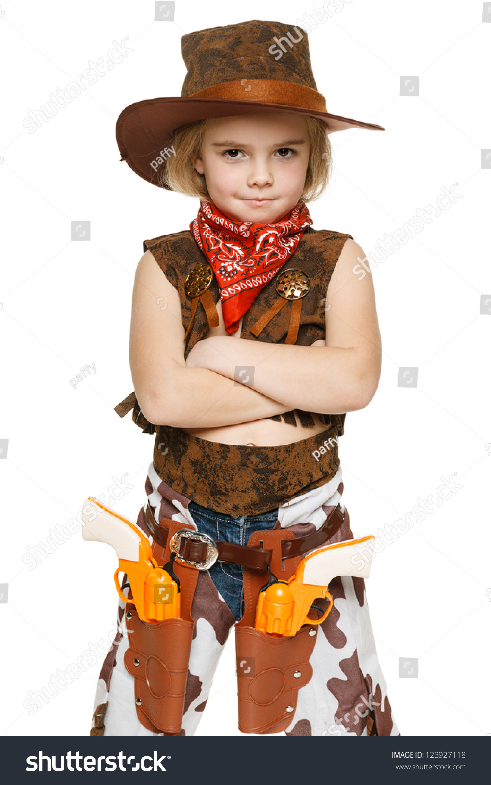 904710e0e7210 Little Girl Wearing Cowboy Costume Standing Stock Photo (Edit Now ...
