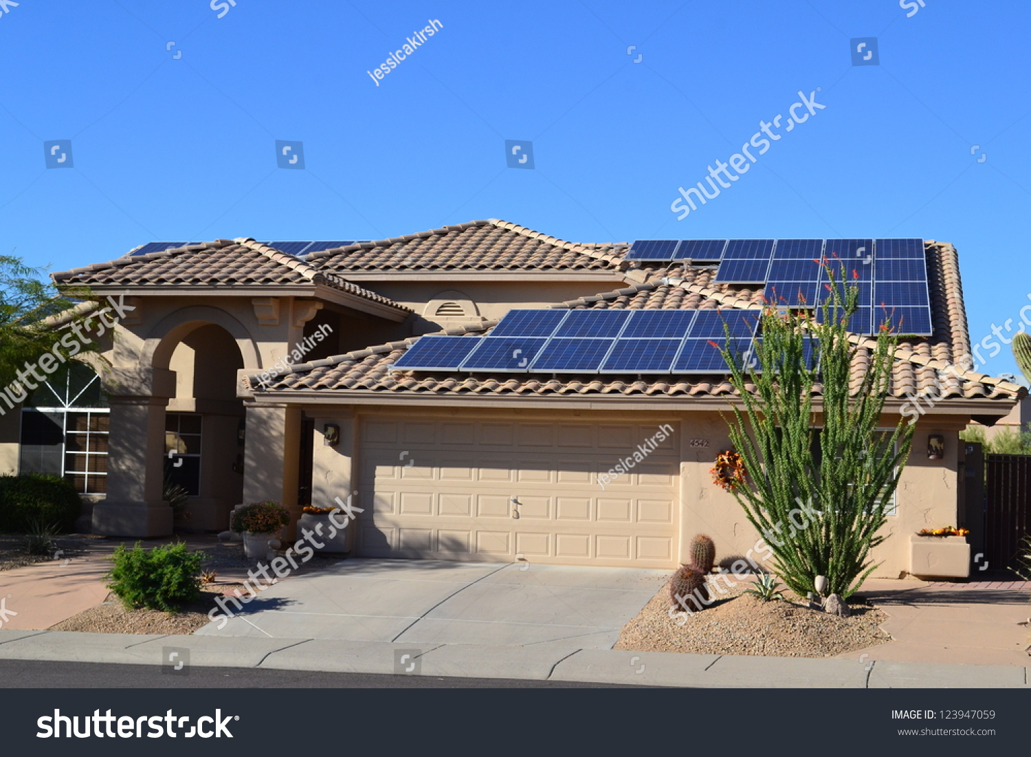 Western ranch style house with solar panels stock photo for Solar ranch