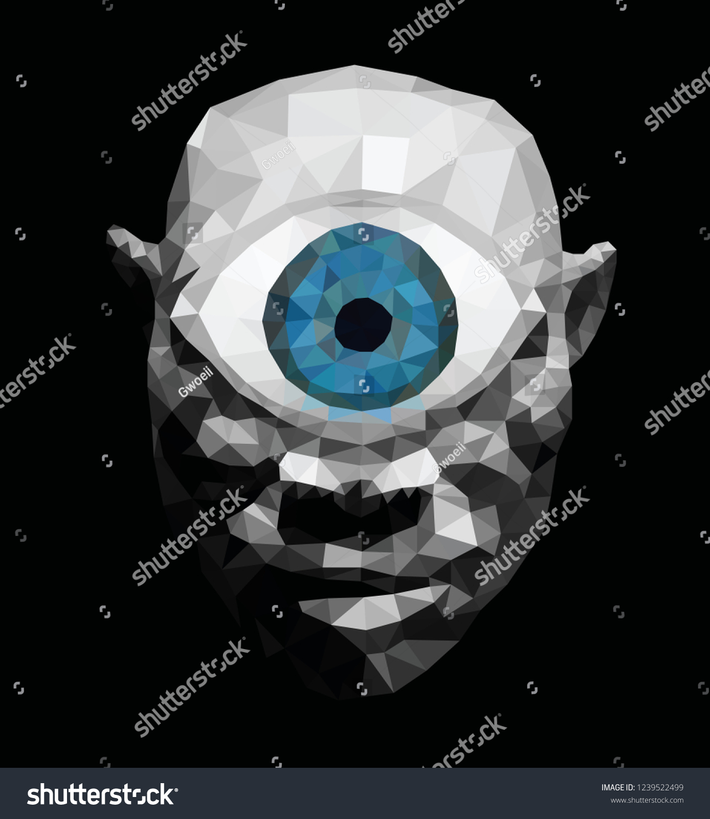 blue eye cyclops monster low poly stock vector royalty free