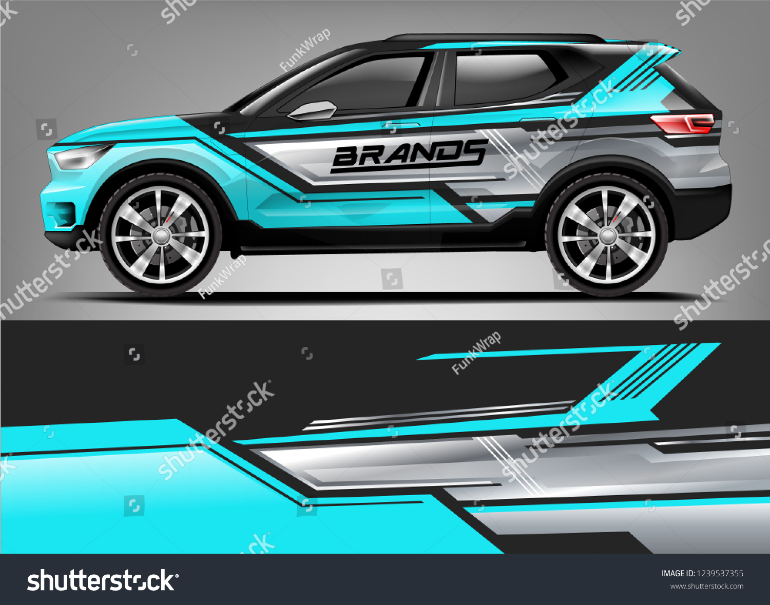 Car wrap design for company decal wrap and sticker vector eps10