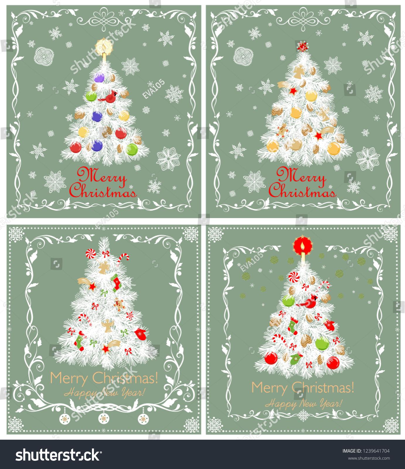 Greeting Pastel Green Retro Xmas Cards Stock Illustration 1239641704 ...