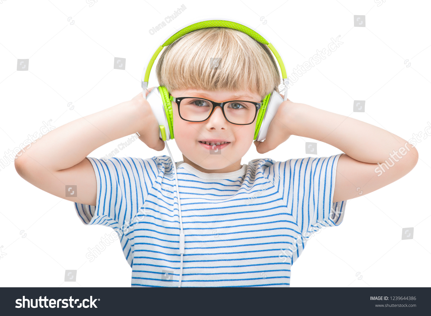 Happy Little Child Wearing Headphones Cute Stock Photo Edit Now