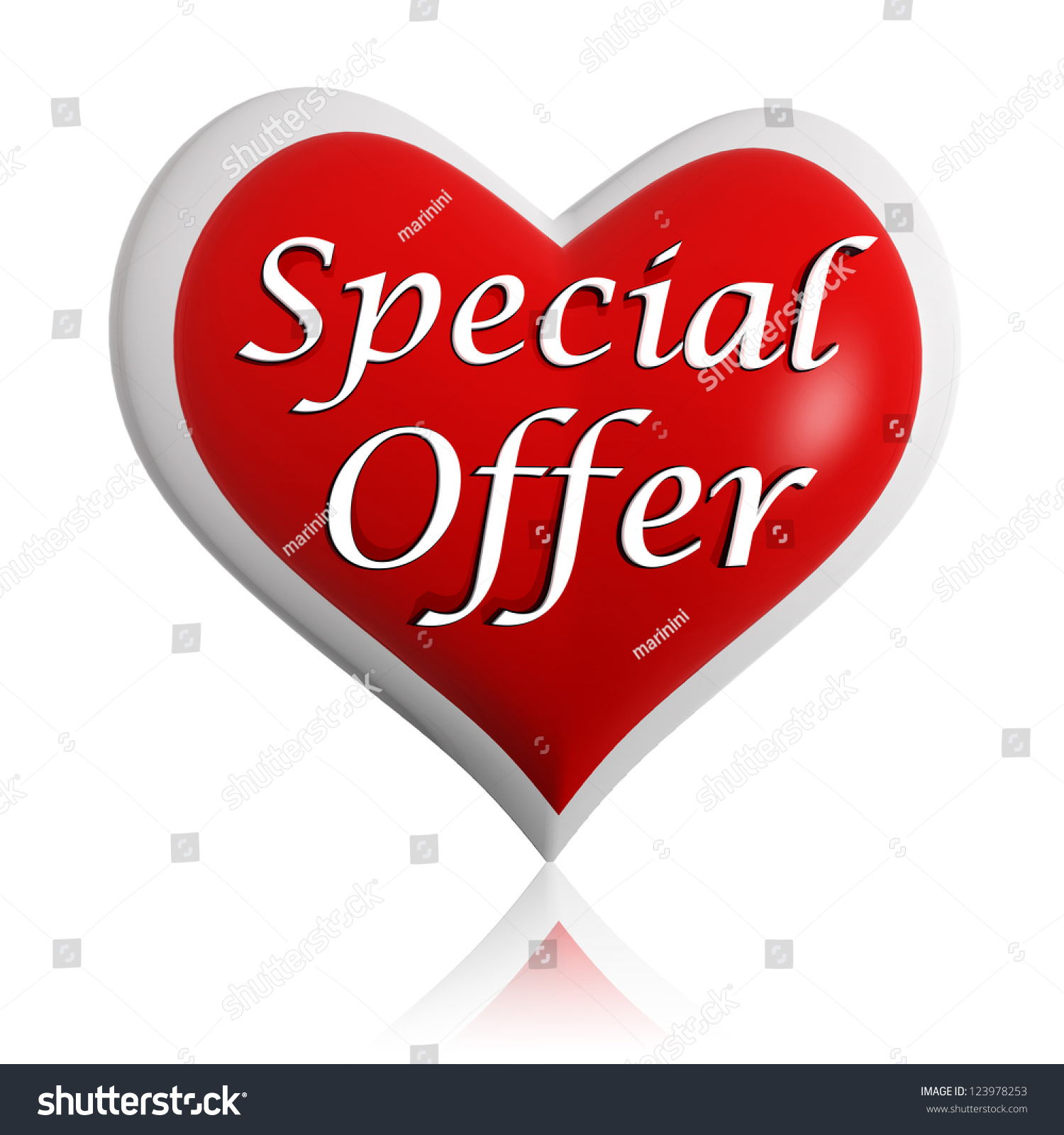Valentines Day Special Offer 3 D Red Stock Illustration 123978253
