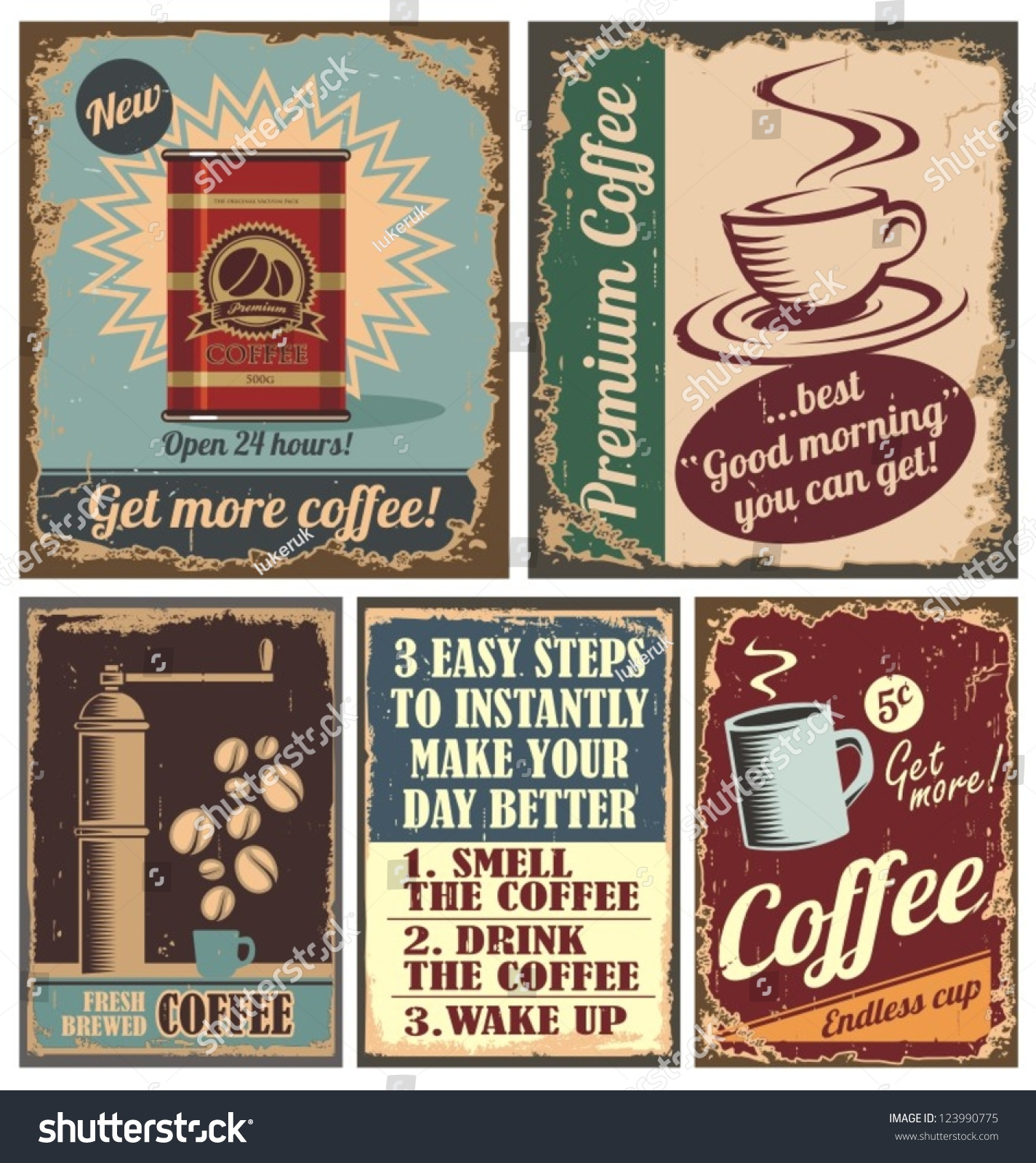 vintage coffee posters retro cafe metal stock vector