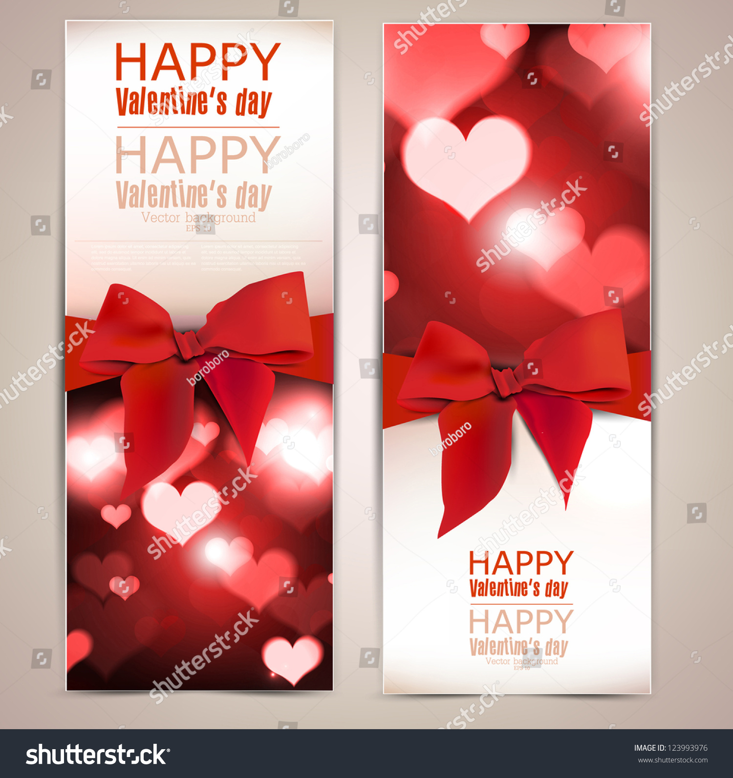 Beautiful Greeting Cards Red Bows Copy Vector 123993976 – Beautiful Valentine Cards