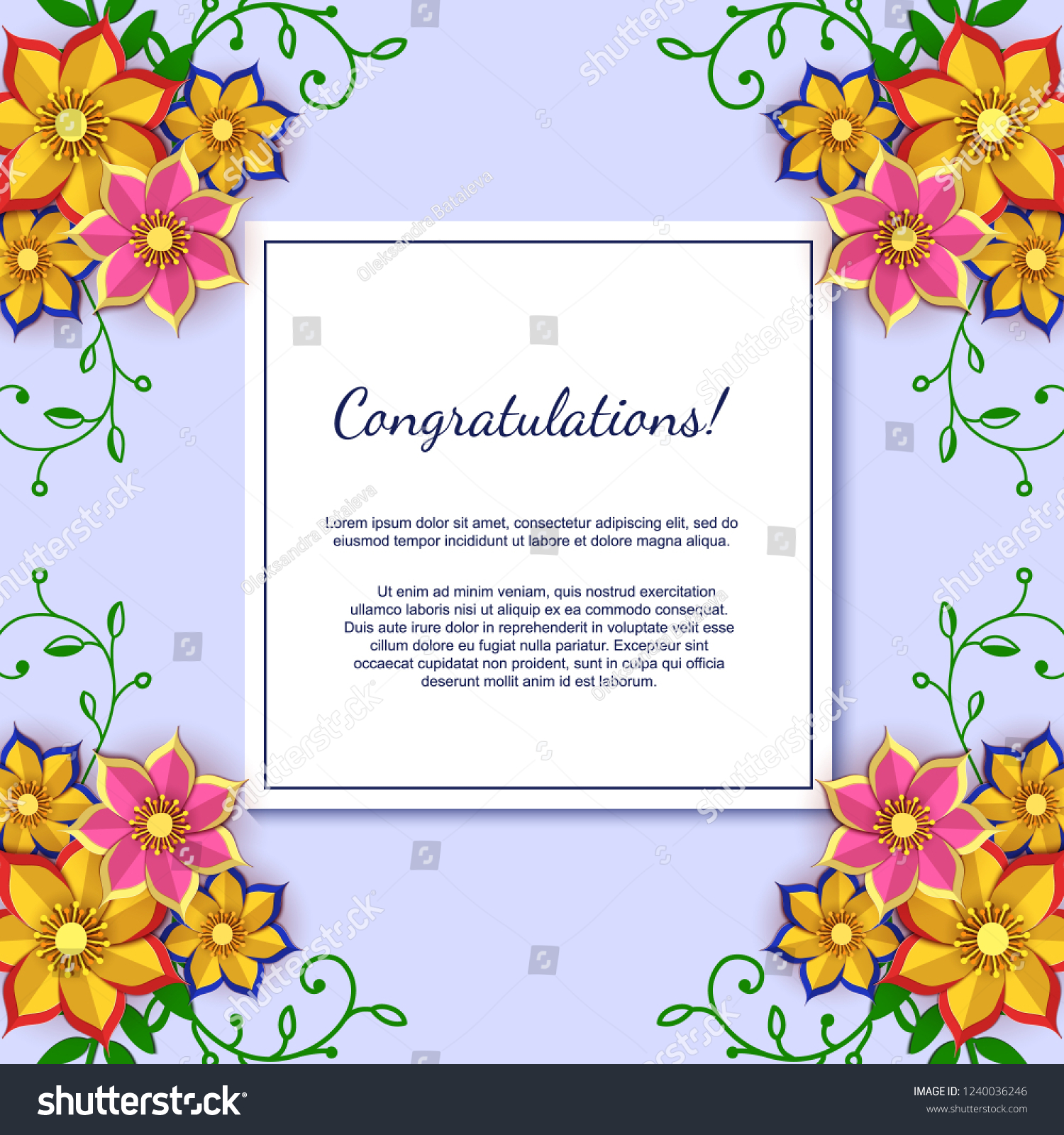 Paper Art Flowers Background Sheet Paper Stock Vector Royalty Free