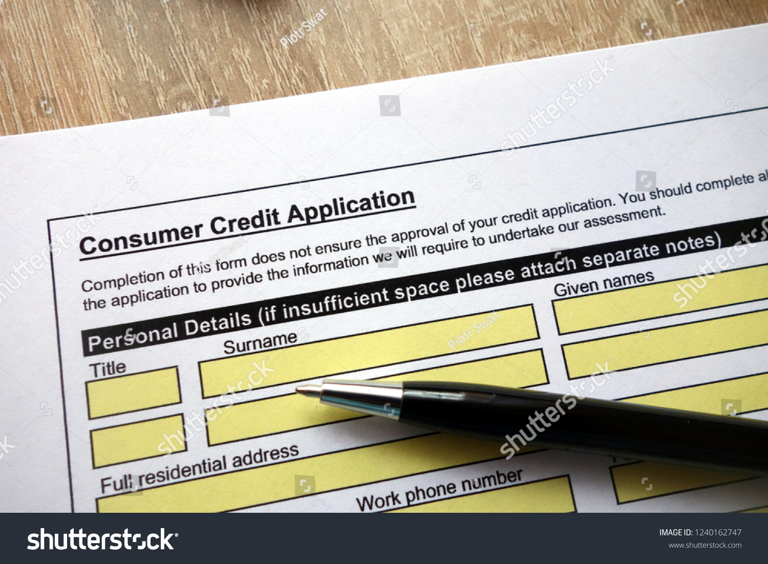consumer credit application form pen on stock photo edit now