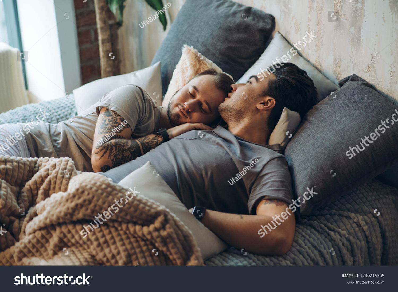Erotic Gay Caucasian Couple Bonding Bed Stock Photo Edit Now