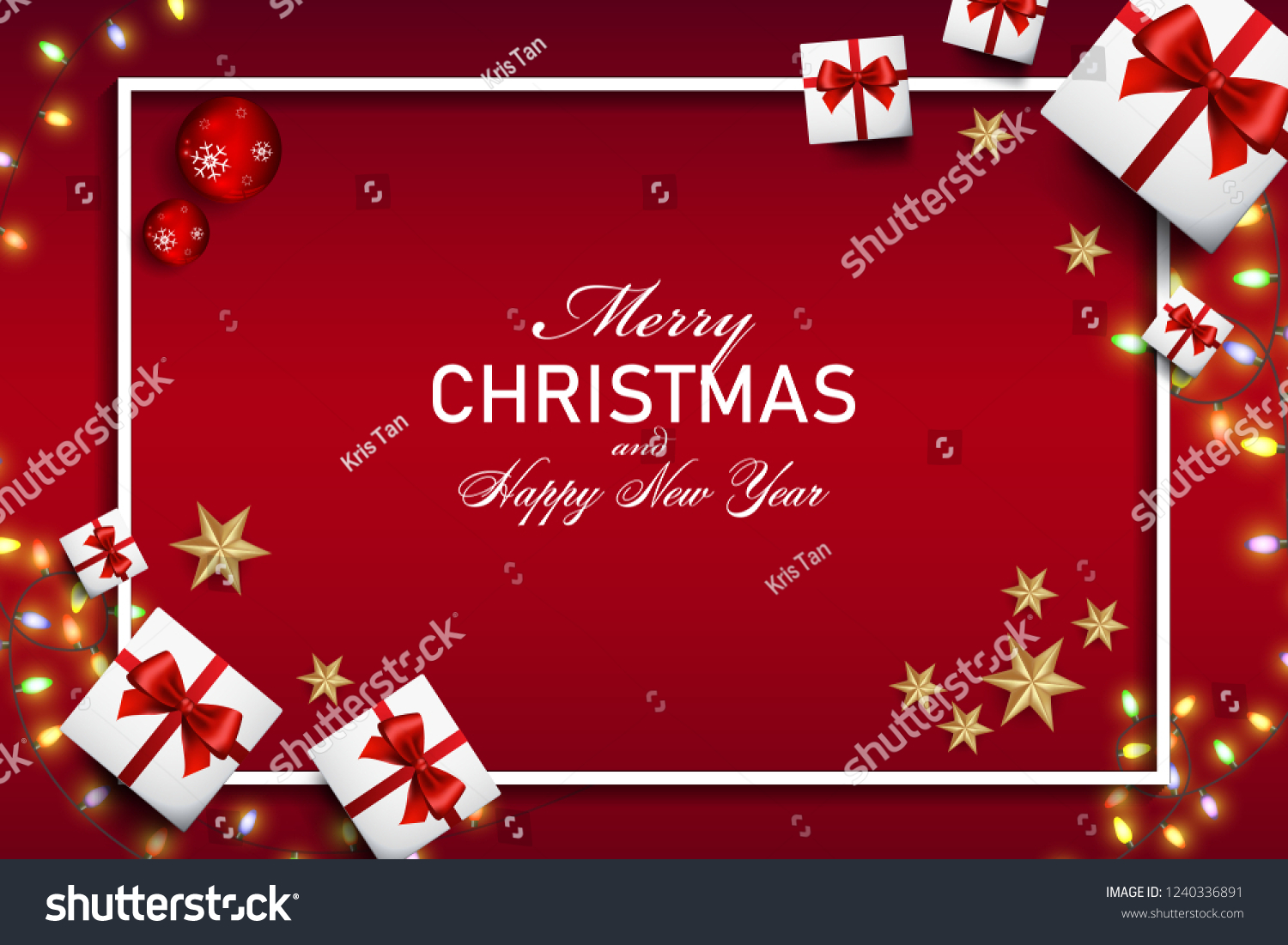 merry christmas and happy new year greeting card background vector design of christmas and happy