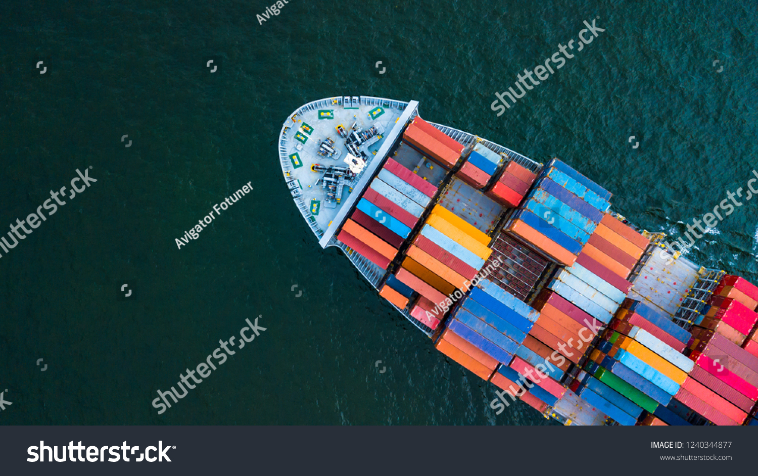 Container ship, Logistic business freight shipping import export international by container ship vessel in the open sea, Aerial top view container cargo freight shipment. #1240344877
