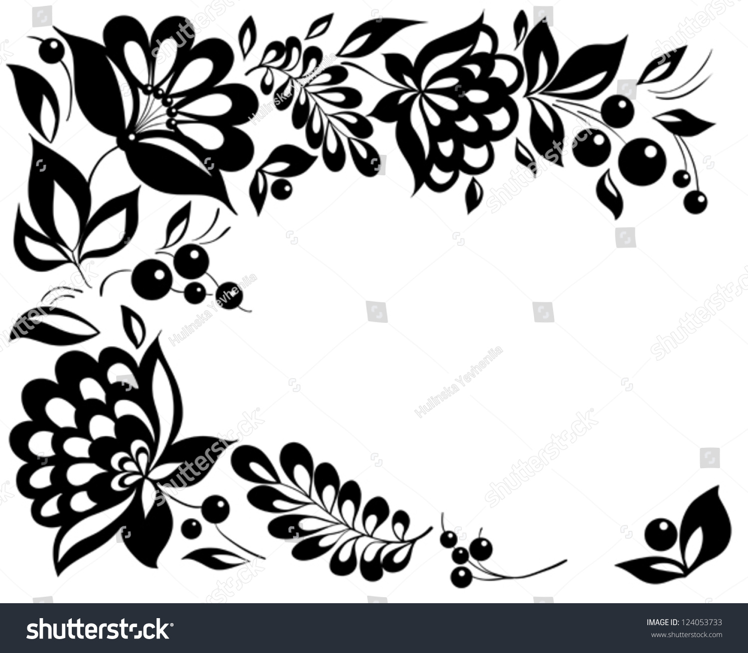 Blackandwhite Flowers Leaves Floral Design Element Stock Vector
