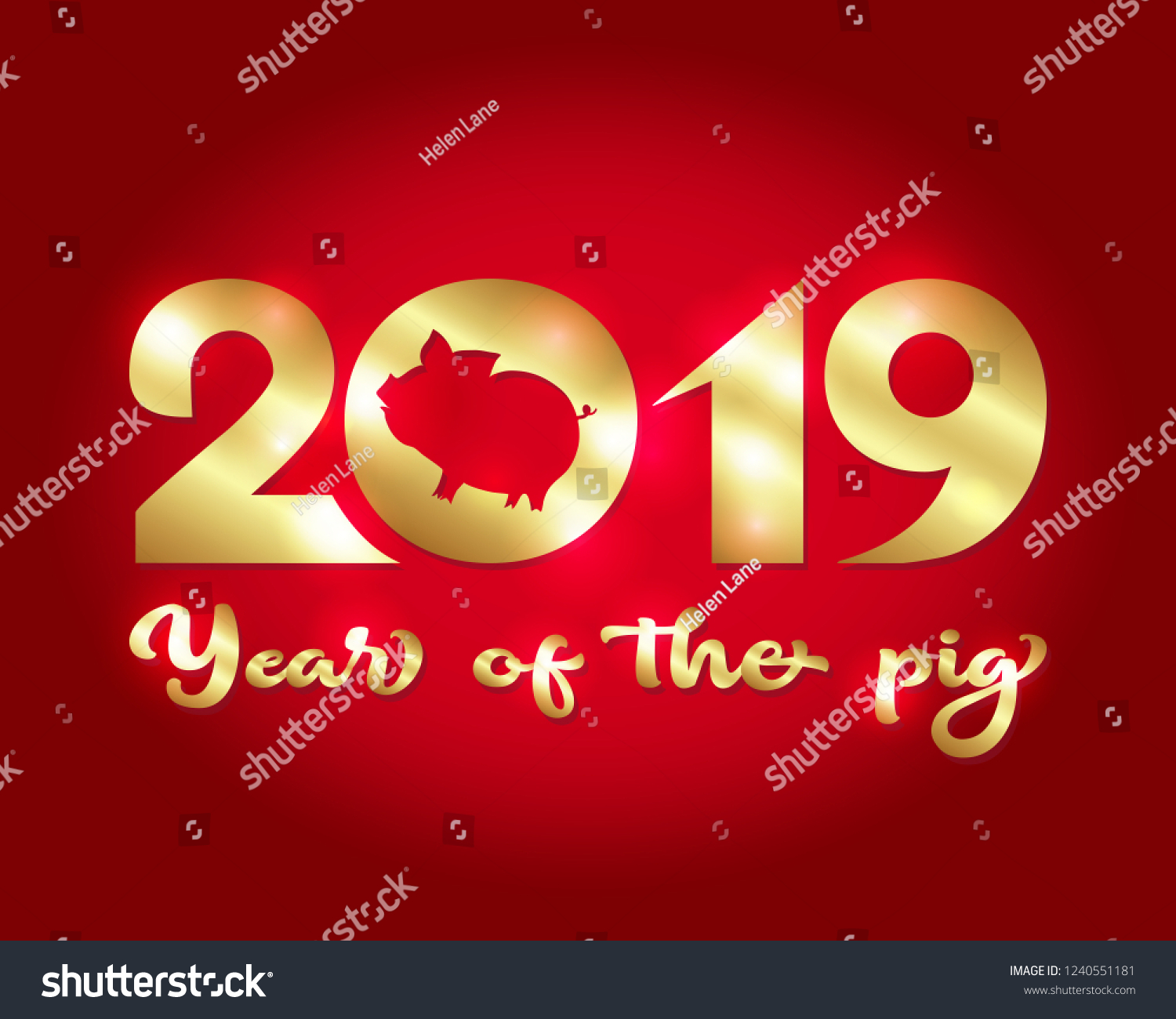 2019 Chinese New Year Of The Pig Template For Greeting Card Invitation