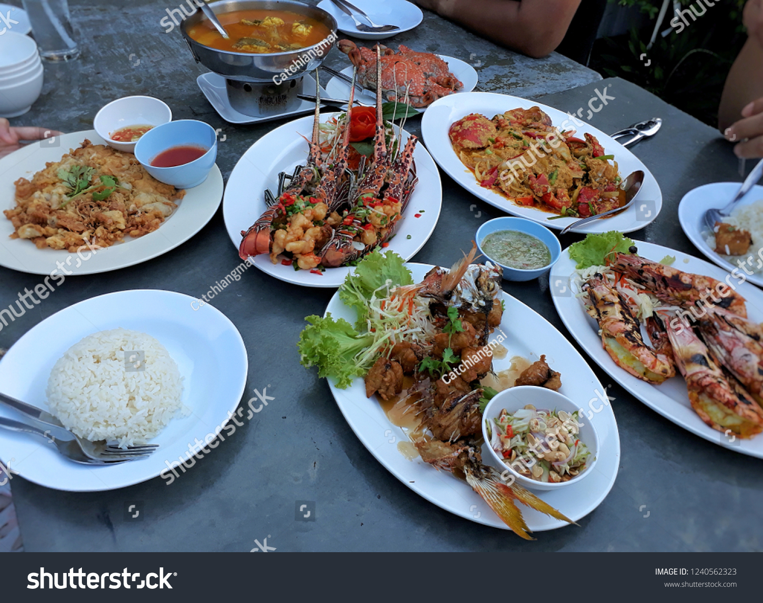 Variety Seafood Dishes Lobster Shrimp ...