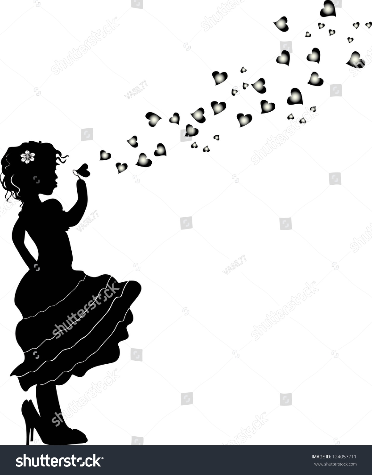 Girl Blowing Bubbles Vector Stock Vector 124057711 ...