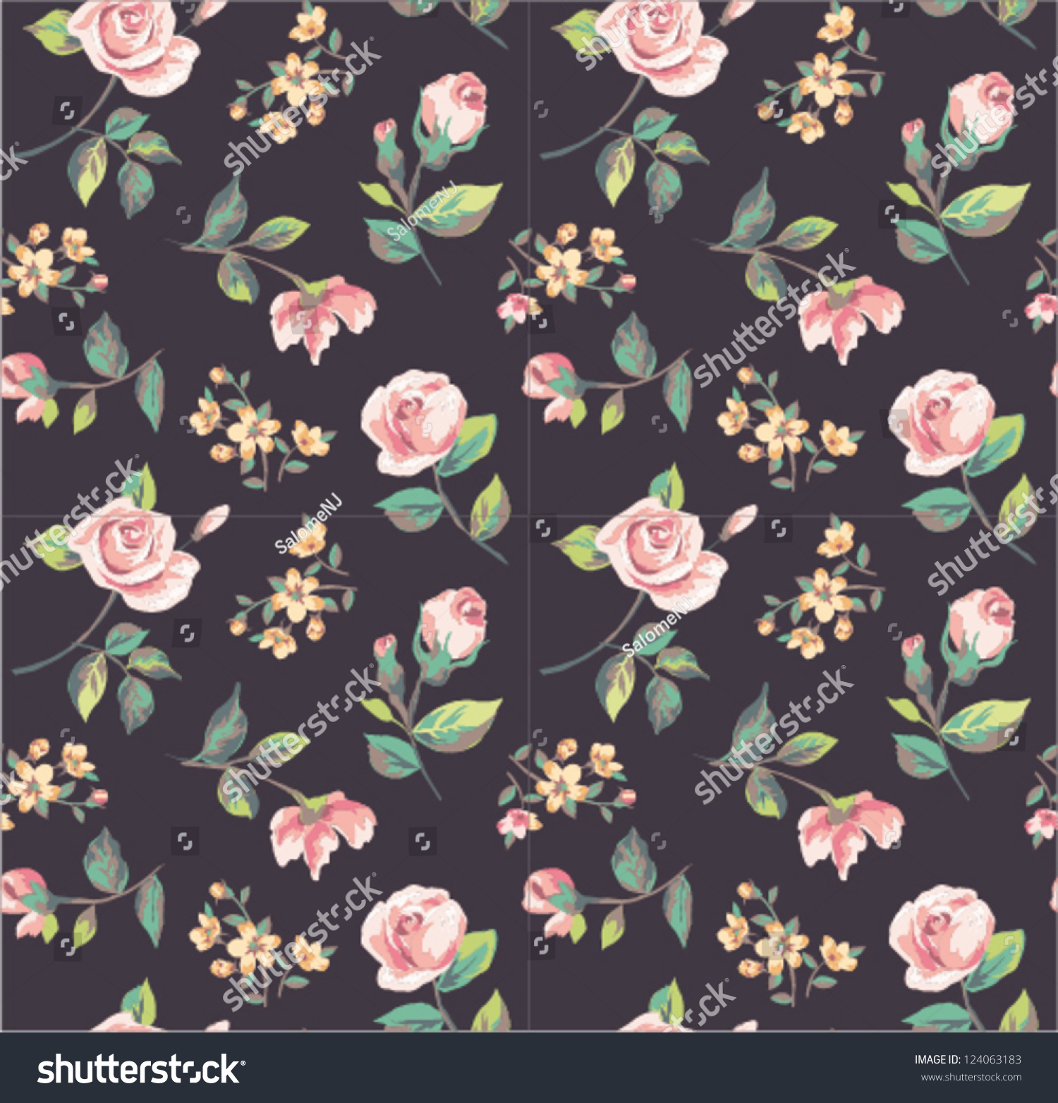 Seamless Wallpaper Classics Vintage Tiny Flower Stock Vector