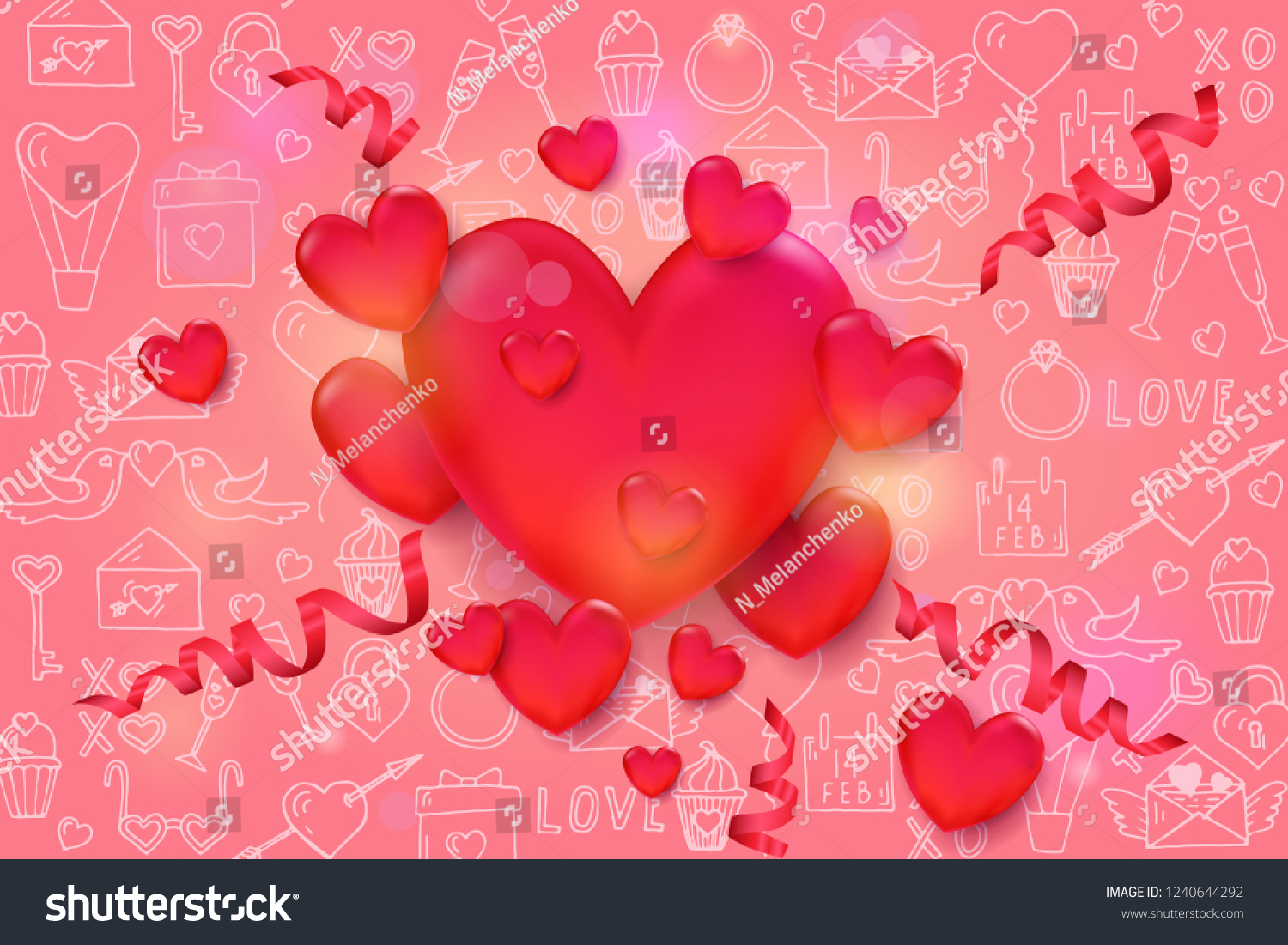 Valentines Day Background 3 D Red Hearts Stock Vector Royalty Free