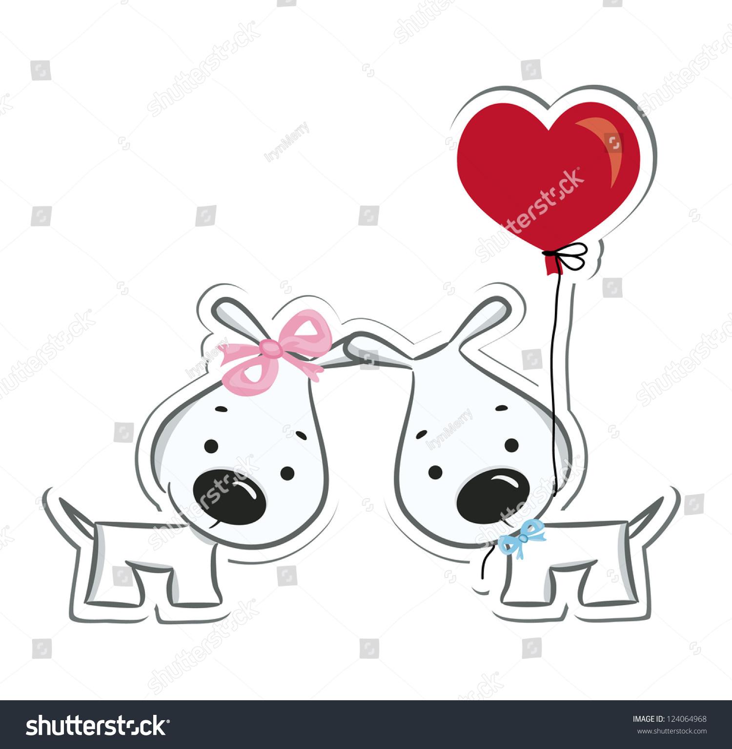 Funny Dogs Couple Love Sticker Vector Stock Vector 124064968 ... for Couple Sticker Line  193tgx