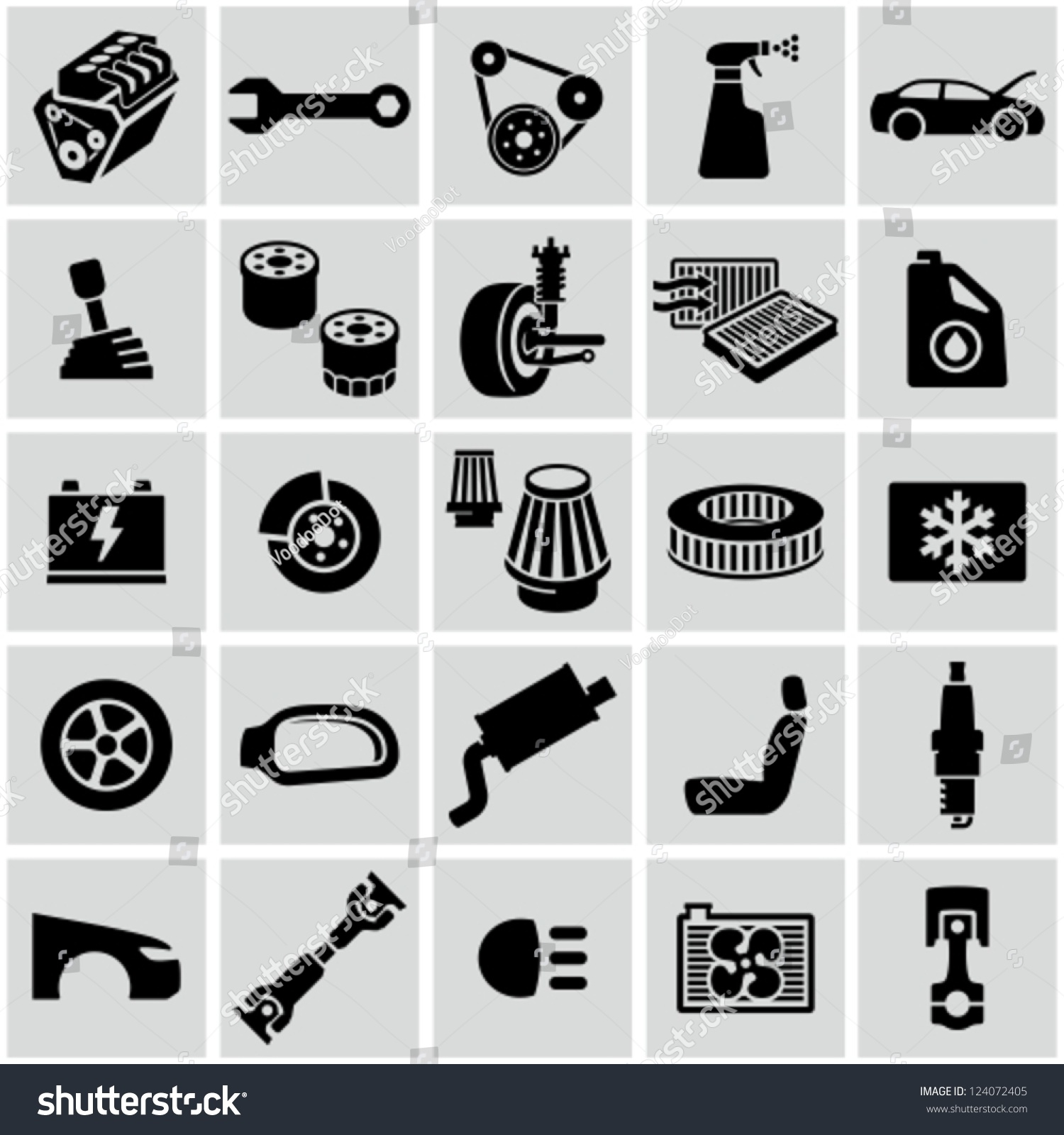 Car Parts Icons Stock Vector 124072405 - Shutterstock