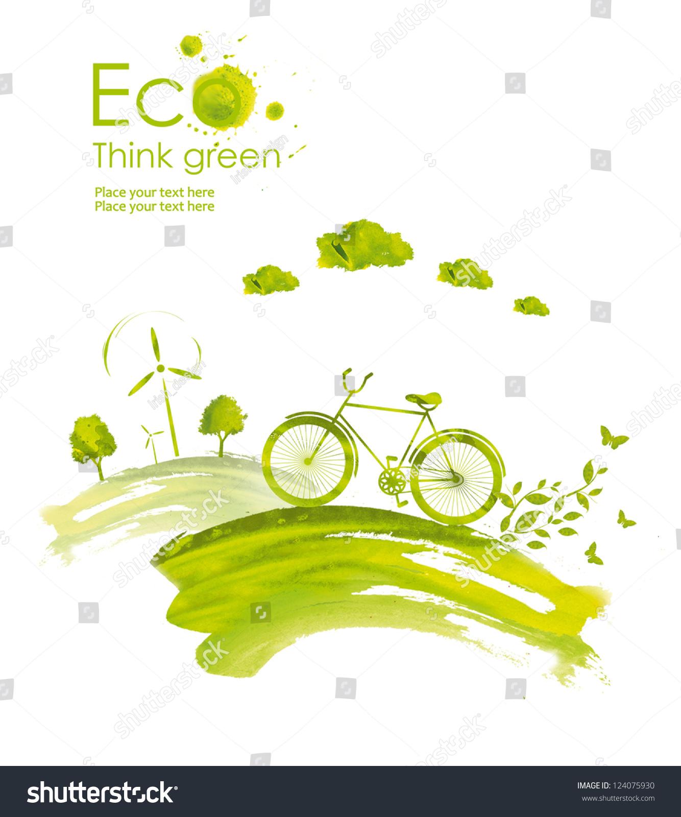 Environmental Concept Earthfriendly Landscapes: Illustration Environmentally Friendly Planet Landscape